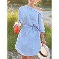 2016 Nova Outono Inverno Impresso Listra Azul Vestido para Senhoras Luva Dos Três Quartos Oblíqua Fora Do Ombro Mulheres Vestido De Cintura Alta