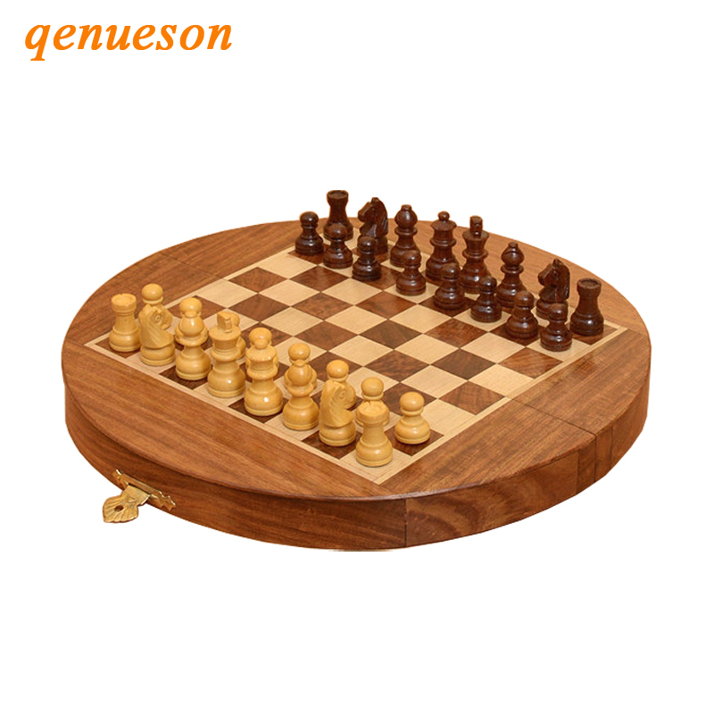 Hot Top Grade Mini Portable Folding Circle Solid Wood Magnetic Drawer Chess Set Non-slip Pieces Children Gifts Craft Board Games