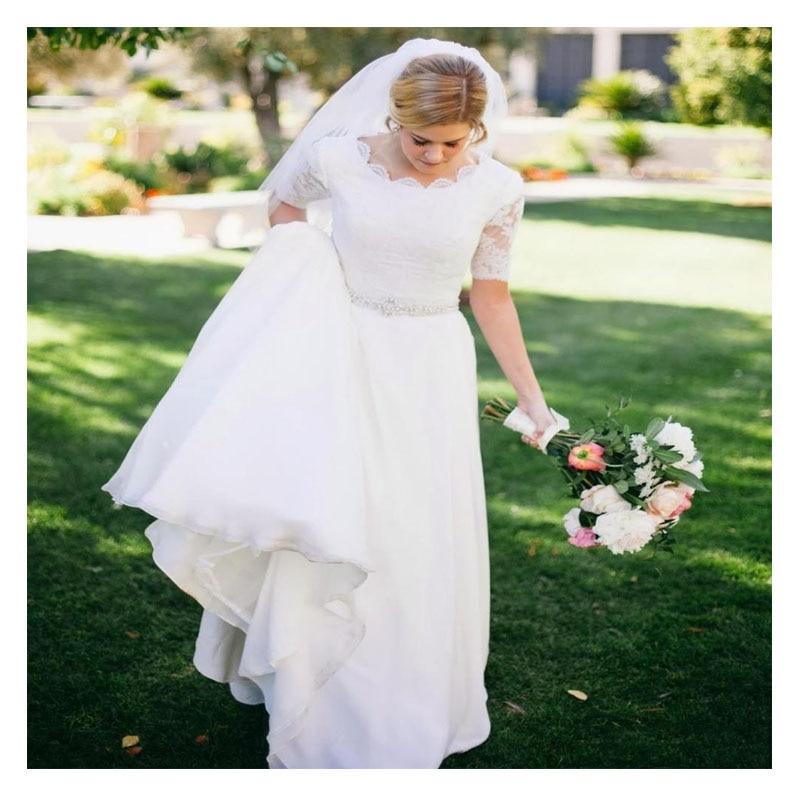 LORIE White Chiffon Wedding Dress 2019 Robe De Mariee See