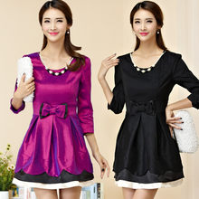 M~3XL Plus Size Spring Autumn Women Sexy Clubwear Beads Pearl Bow Dress  Female Ladies Large Short Party Formal Dresses Vestidos 1eaaebcd53fd