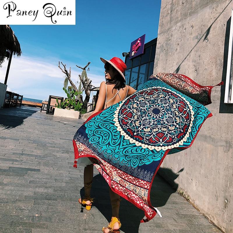 Women Fashion Summer Ethnic Print Cotton Scarf For Women Long Tassel Soft Wraps And Shawls Beach Hijab OverSize Female Foulard