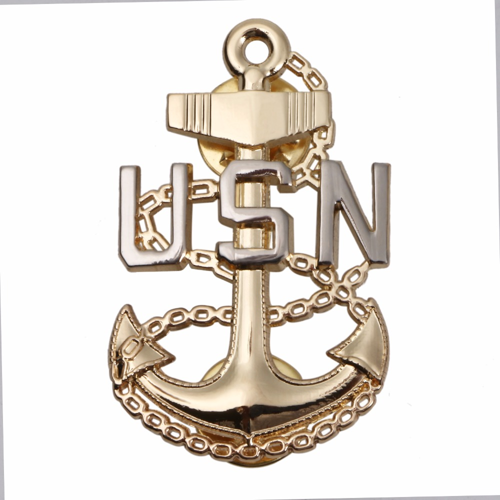 Navy Hat Pins: WWII US UNITED STATES NAVY USN OFFICER LAPEL HAT PIN BADGE