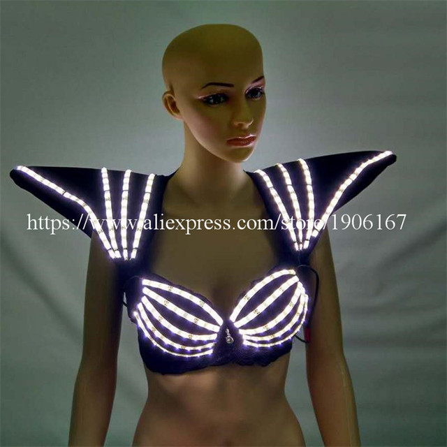 9bec891e31be9 7 Colors Led Light Luminous Flashing Growing Costume Halloween Dance Suit  Sexy Lady Bra And Vest For Women Party DJ Club