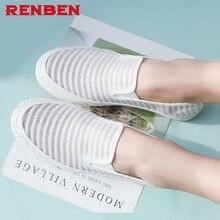 2018 Slipony Women Hole Shoes Ladies Mesh Shoes Breathable Soft Women Flats Shoes Vulcanized Slip on Women Sneakers