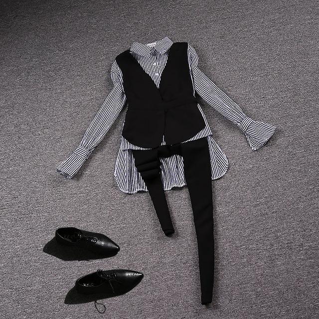 Outono novos produtos Europeus listrado calças colete três-peça de moda temperamento suit-do703