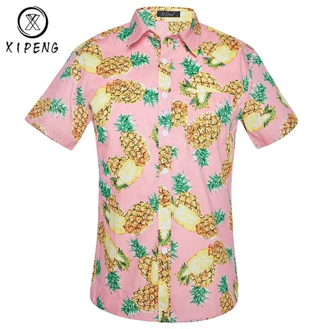 478b9162e224 € 10.9 37% de DESCUENTO|Camisa hawaiana con estampado de piña hombres 2019  de marca de verano de manga corta para hombres camisetas de playa ...