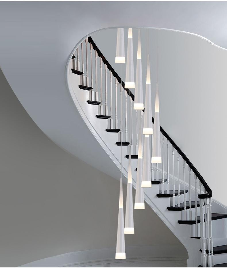 modern m milan led luces de cono espiral lmparas de techo para comedor gota luz larga escalera de caracol luces de ilum