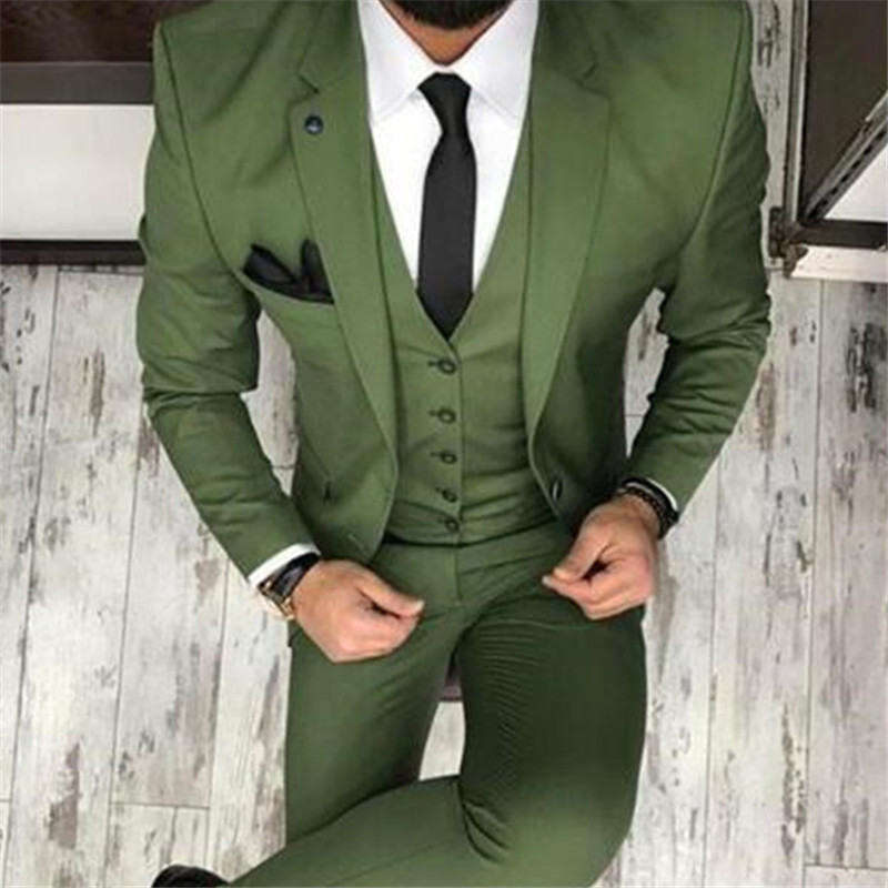Men Suits For Wedding (Jacket + Pant + Vest ) Latest Design Terno Masculino Groom Tailored Fashion Blazer costume homme mariage