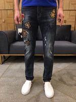 HFA0222 модные для мужчин джинсы для женщин 2019 взлетно посадочной полосы Роскошные европейский дизайн вечерние стиль