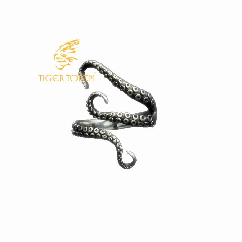 Cincin jari gurita dibuka, Ukuran disesuaikan kualitas Titanium stainless steel laut dalam squid gothic, Fashion perhiasan, Pengiriman gratis