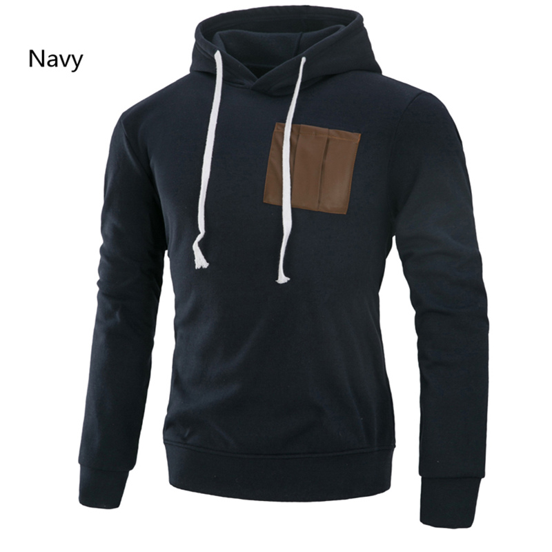 Men's Brand New Fashion Long Sleeve Casual Hooded New Men's Pullover Solid Color Paneled Hooded Sweatshirt