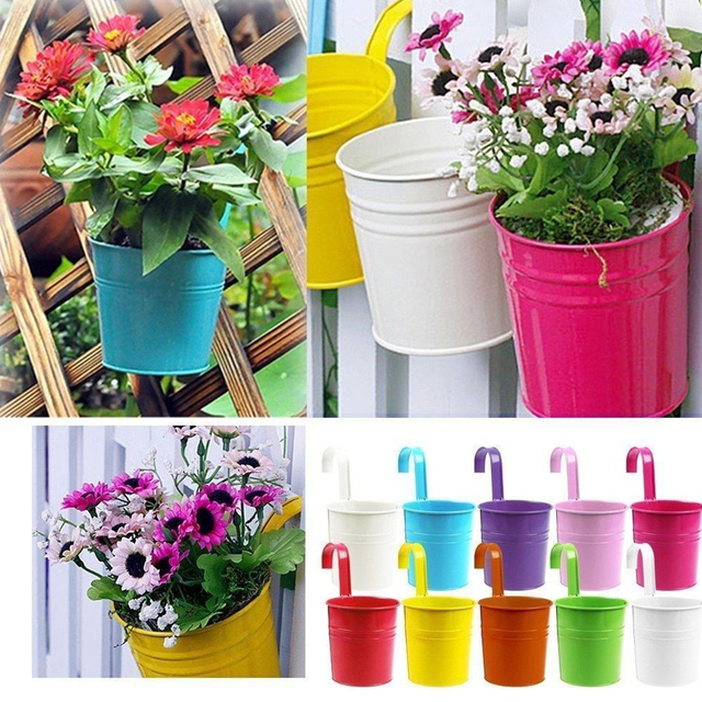 toyofmine Colorful Metal Iron Flower Pots Hanging Balcony