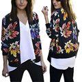 Primavera Outono das Mulheres Hippie Floral Ocasional Magro Cabido Blazer Terno Brasão Jacket Tops Casacos 2017