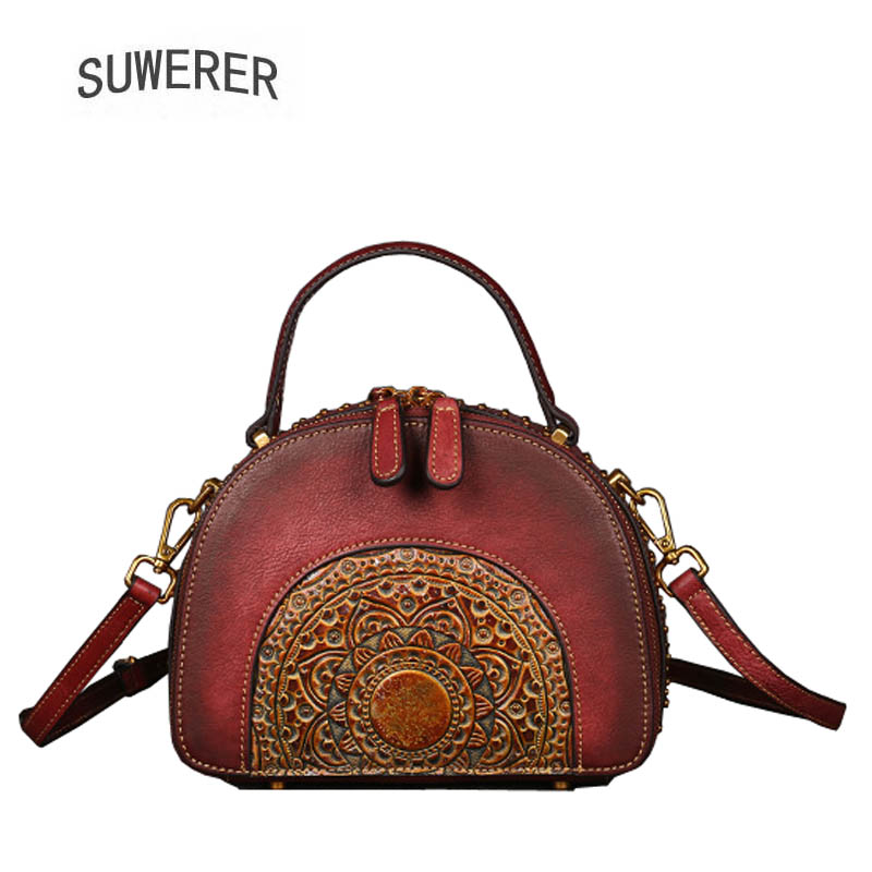 SUWERER 2018 New Genuine Leather women bags Retro embossing Cowhide luxury leather shoulder bag designer women famous brands bag
