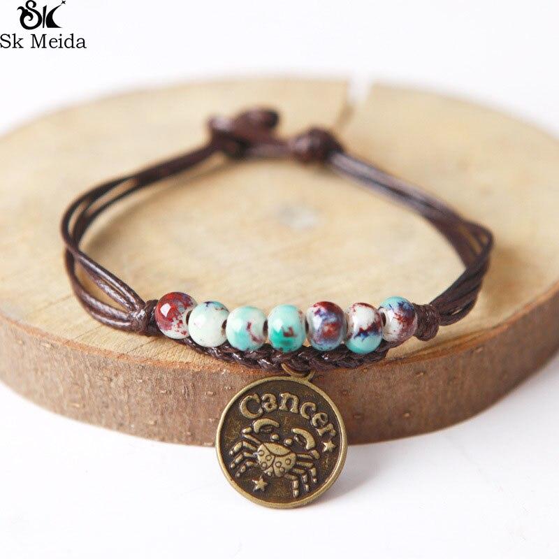 Ceramic Beaded Charm Bracelet Wax Rope Bracelet Bangle With Constellation Pendant Zodiac Astrological Sign Horoscope E-116