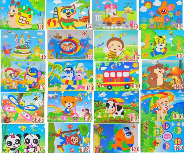 3pcs/lot 3d Eva Stickers Handmade Foam Puzzle Painting Scratch Paper Sticker Drawing Template Eva Crafts Toys For Kids