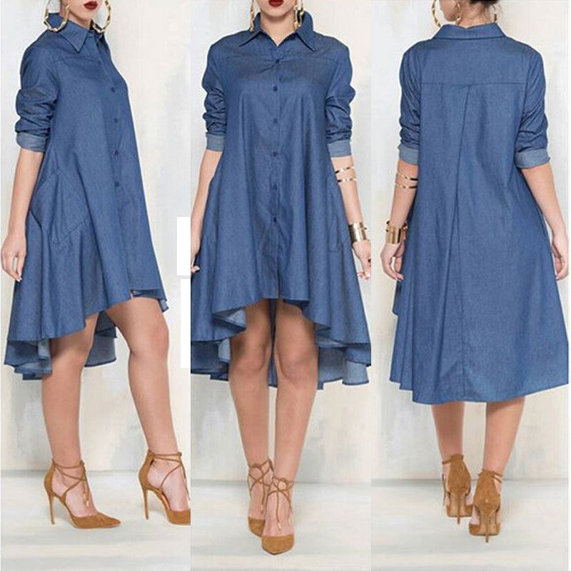 Women Casual Loose Long Sleeve Denim Jeans   Blouse     Shirts   Sundress Short Mini Vestido Cocktail Party Clubwear Outfits   Shirts   Top