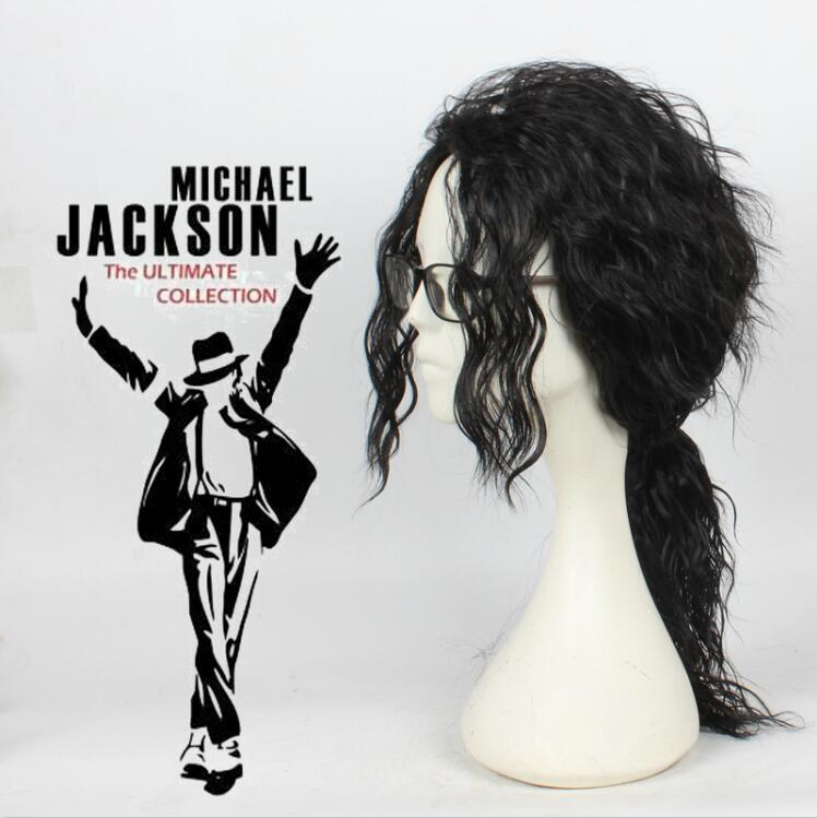 Anime Michael Jackson Long Black Curly Wig Cosplay Costume Hair MJ High Quality Role Play Wigs Free Shipping