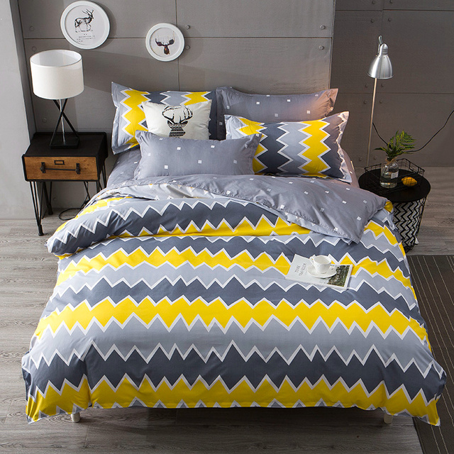 Wongsbedding geometry Duvet Cover Bedding Set Bed Sheet Single Full Queen King Size 3/4PCS Bedclothes