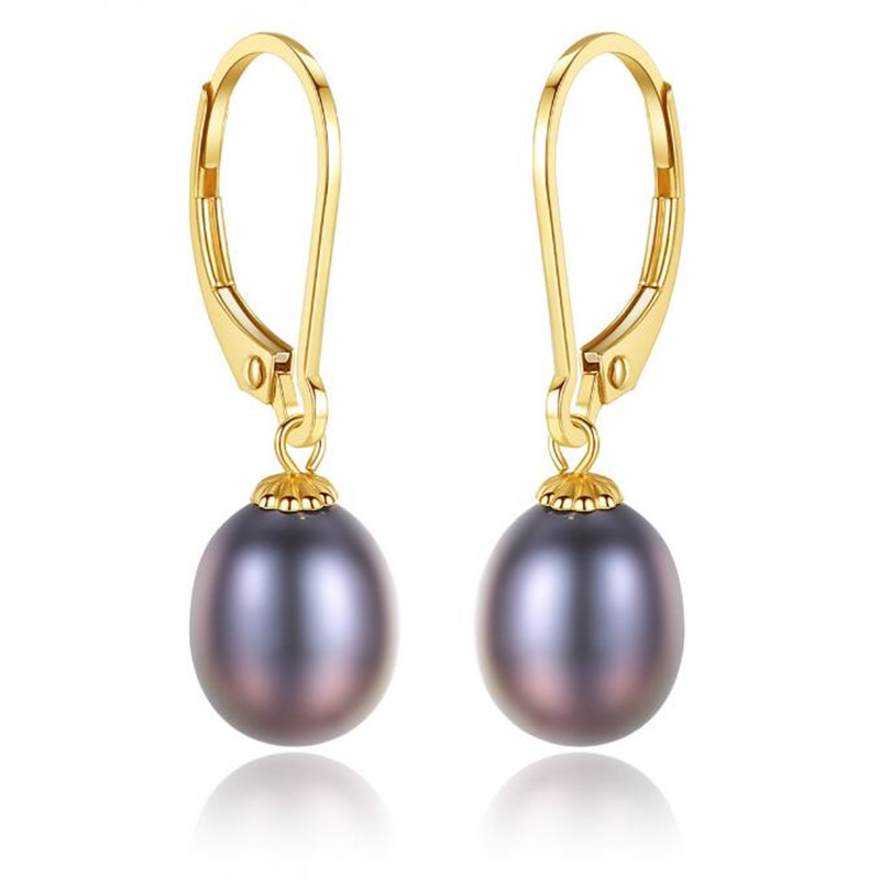 Korean Fashion Real 18K Gold Jewelry White Purple 8-9mm Freshwater Pearl Hook Dangle Earrings Elegant Statement Drop Earrings 3g mifi router vodafone huawei r201 hsupa 3g wifi router tri band 900 1900 2100 7 2mbps free shipping