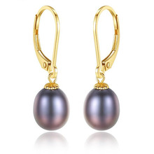 Korean Fashion Real 18K Gold Jewelry White Purple 8-9mm Freshwater Pearl Hook Dangle Earrings Elegant Statement Drop