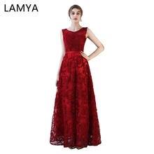 031fc103d4c5e LAMYA Ucuz Uzun balo kıyafetleri 2019 Kadın Moda Basit Resmi Elbise Dantel  Vestidos De Novia(