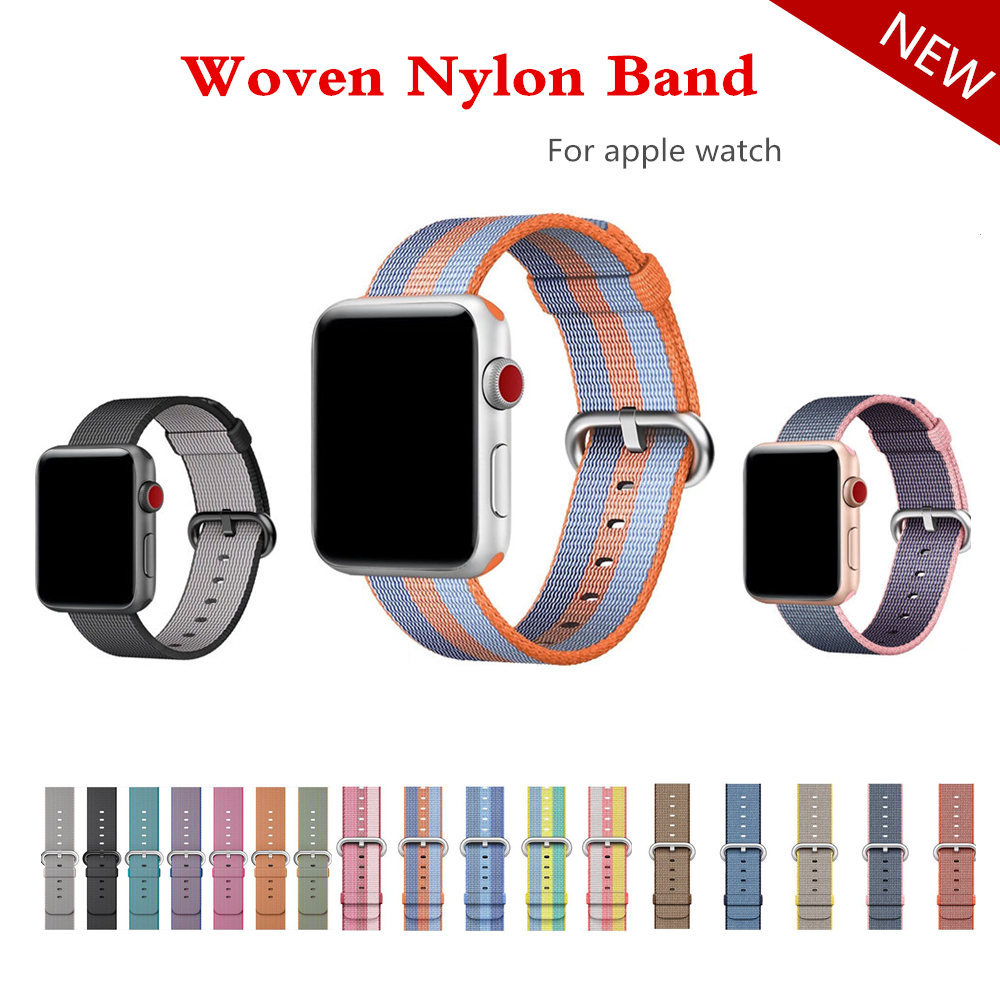 Woven Nylon band Apple Uhr 42mm 38mm armband gürtel stoff-wie nylon armband für iwatch 3/2/1/Edition Zubehör