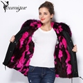 YOUMIGUE Winter Fashion Outwear Removable Raccoon Collar Real Rabbit Fur Lining Thickening Parka Women's Jacket For Women Coat