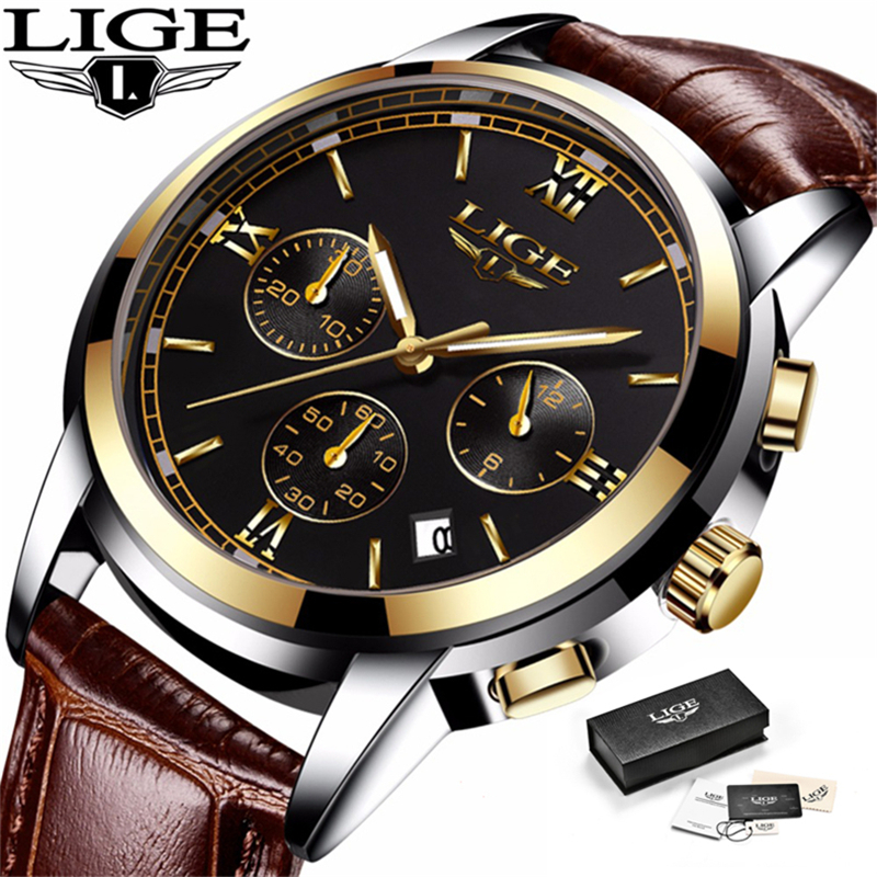 Relogio Masculino LIGE Mens Watches Top Brand Luxury Leather Casual Quartz Watch Men Military Sport Waterproof Chronograph Watch