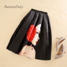 BunniesFairy Brand 2017 Spring New Hepburn Chic Vintage Fashion Black Skirts Beauty Cartoon Character Print Pleated Tutu Faldas