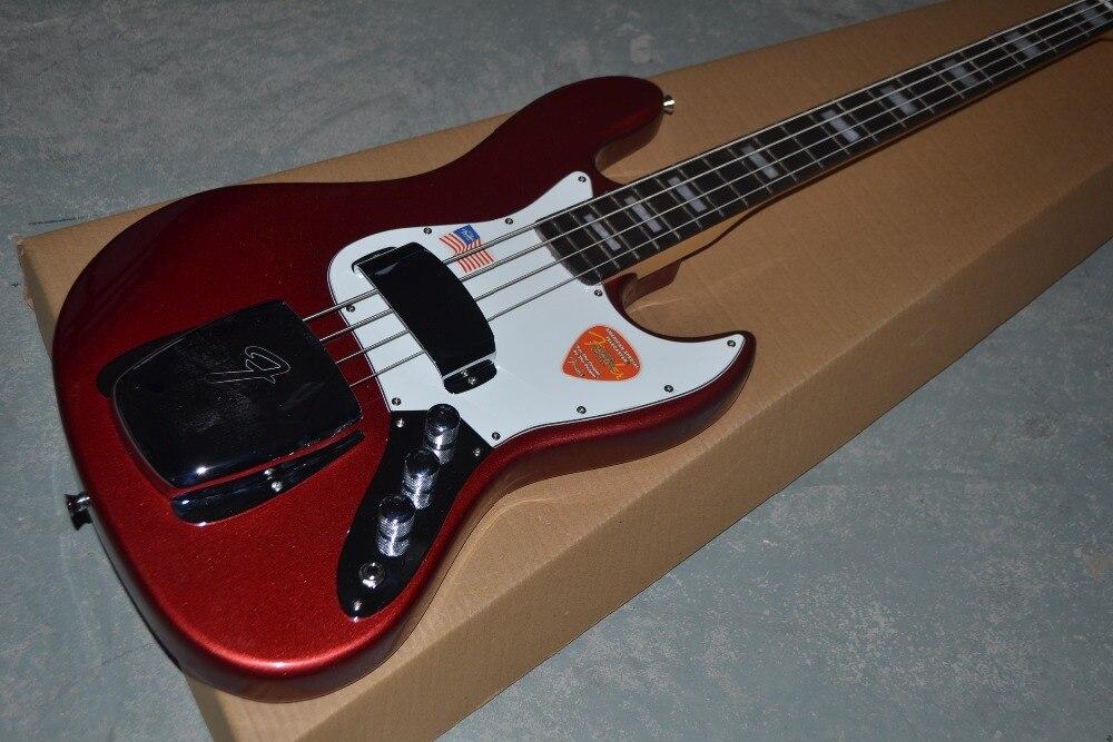 Livraison gratuite usine personnalisé JAZZ basse 4 cordes avec métal couleur rouge guitare basse électrique instrument de musique boutique.