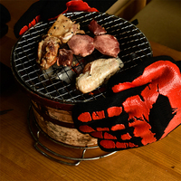 TTLIFE 2 PCS Silicone BBQ Gloves 932F Extreme Heat Resistant BBQ Cooking Gloves Wear Resistant Long