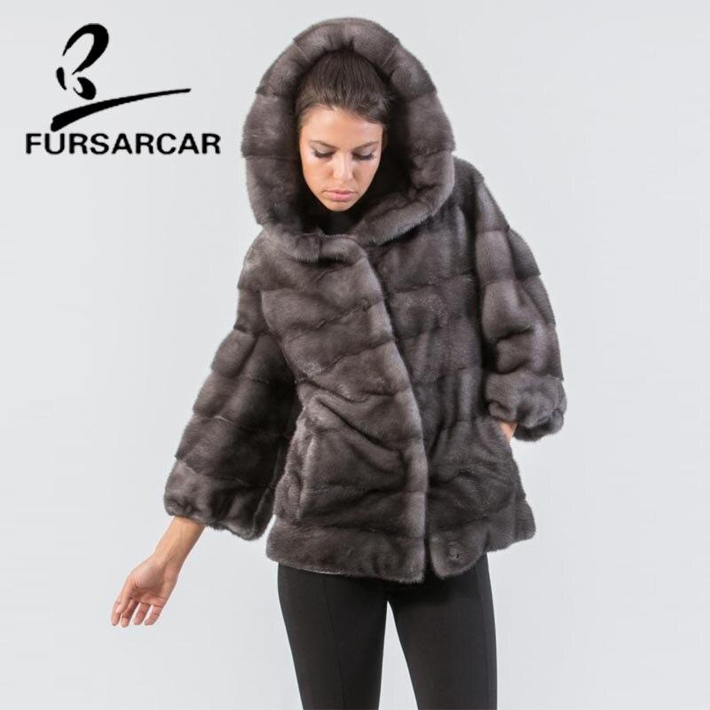 FURSARCAR Real Mink Fur Coats For Women Regular Long Type Hooded Winter Mink Fur Coat Natural Genuine Leather Mink Fur Coat
