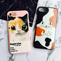 NEW Cute Cartoon camouflage cat soft cases high quality relief back covers for iPhone 7 7plus 4.7&5.5 Lovers phone shell