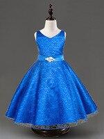 Çocuk Kraliyet Mavi Giyim Kız Vintage A-line Dantel Kırmızı Bej Siyah Mor Prenses Gelinlik Çocuklar Genç Kız için Elbise
