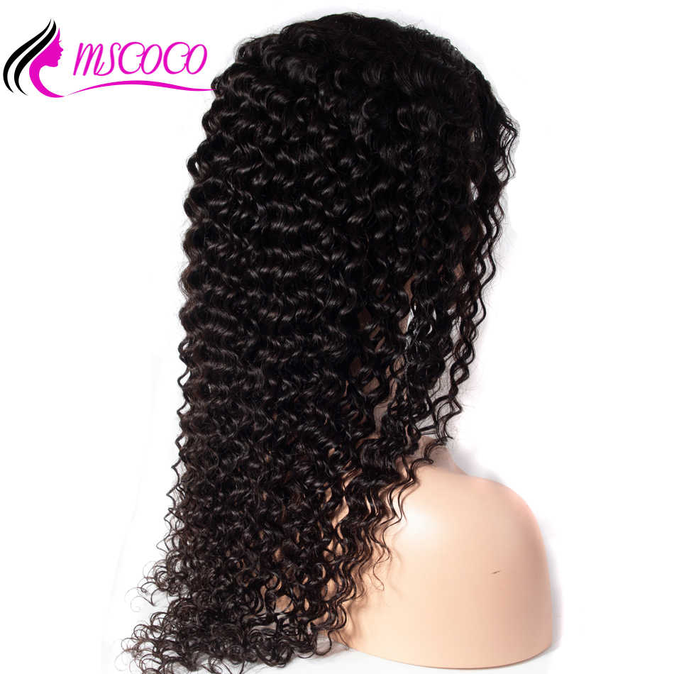 Mscoco Gluless Full Lace Human Hair Wigs Deep Wave Wig 200 Density Remy Brazilian PrePlucked Full Lace Human Hair With Baby Hair