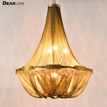 French Empire Chain Chandelier Light Fixture Long Chain Hanging Suspension Lustre Lamp Chain Light цена 2017