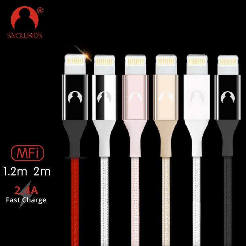 Snowkids cargador de teléfono USB Cable de Lightning a USB Cable para iPhone 7 6X8 5 XR XsMax sincronización de datos Extra larga hasta iOS 12