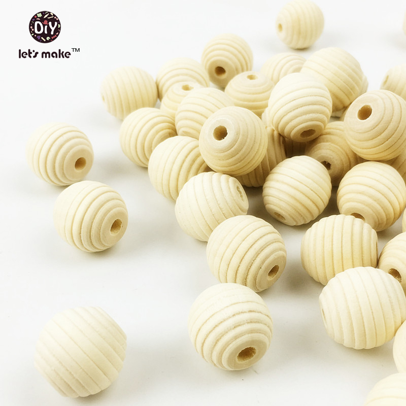 Let's Make 100 Pcs 18mm Round Beehive Wood Beads Diy Teething Necklace Wooden Teether Food Grade Wooden Teether Baby Teether