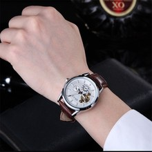 QLLS Skeleton Watch Men Automatic Waterproof Top Brand Mens Mechanical Watches Leather clock man Relogio Masculino