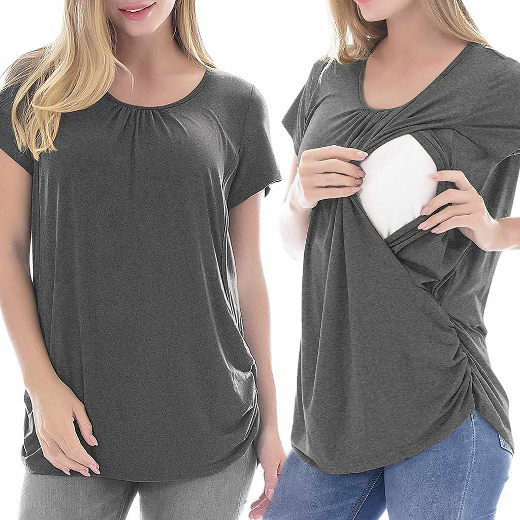 Women's Maternity Cloth Short Sleeve Ruffles Solid Breastfeeding Pregnant T-shirt Nursing Top ropa mujer Maternity Clothing C613