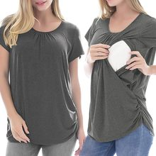 Women's Maternity Cloth Short Sleeve Ruffles Solid Breastfeeding Pregnant T-shirt Nursing Top ropa mujer Maternity Clothing C613(China)