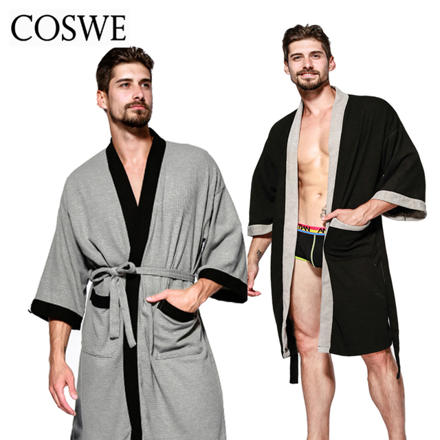 COSWE New Cotton Men Robe For Mens Winter Robes Long Male Bathrobe Pijamas  Masculinos Bathrobes Man Nightwear Mans Dressing Gown afed95e42