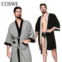 COSWE Nouveau Coton Hommes Robe Pour Hommes Hiver Robes Long Mâle Peignoir Pyjamas Masculinos Peignoirs Homme Mans De Nuit Robe de Chambre