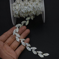 2Yds Leaves Rhinestone Trim Silver Chain DIY Sewing Leaf Crystal Applique Hair Accessory Bridal Sashes Headbands Garters Jewelry