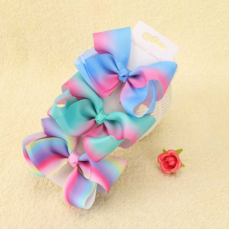 4 quot party Bows Handmade Hair Bows Hairgrips Kids Hair Accessories Graffiti Ribbon party Bow Hair Clips For Girls Princess 1pcs in Hair Accessories from Mother amp Kids