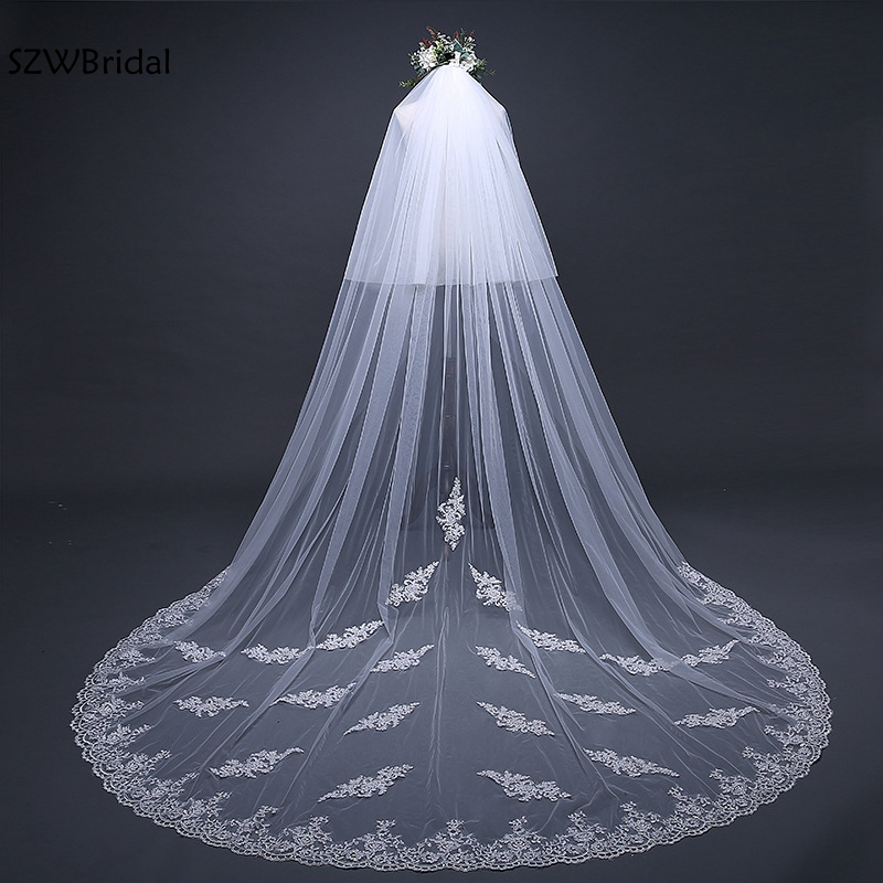 Fashion 3 Meter White Ivory Cathedral Wedding Veils 2019 Appliques Lace Veu de noiva bridal veil Wedding Accessories veu