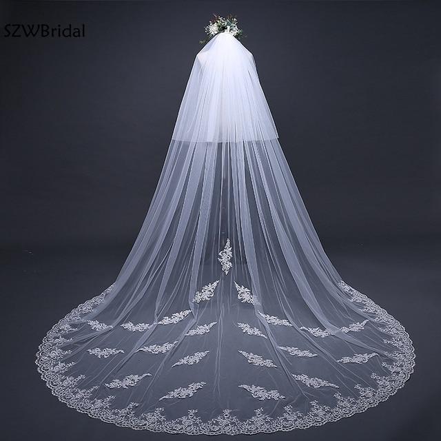 Fashion 3 Meter White Ivory Cathedral Wedding Veils 2019 Appliques Lace Veu de noiva bridal veil Wedding Accessories veu