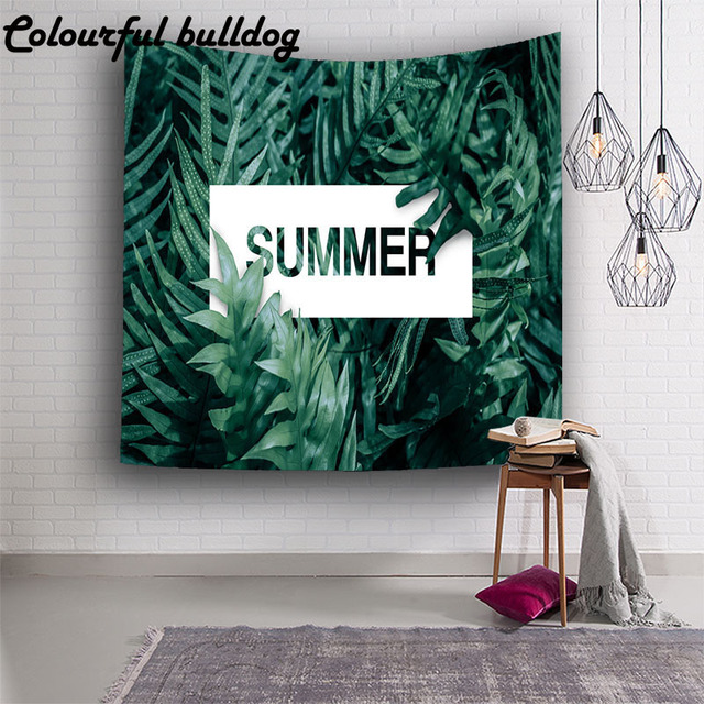 nordic style tropical plants wall tapestry banana canopy leaf wall hanging mural beach blanket carpet decoration