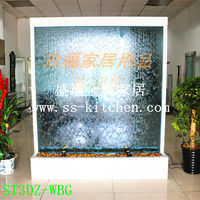 Free Shipping Blue Glass Water Features screen curtain divider company image partition with changing lighting for decoration